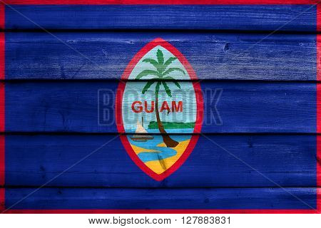Flag Of Guam, Painted On Old Wood Plank Background