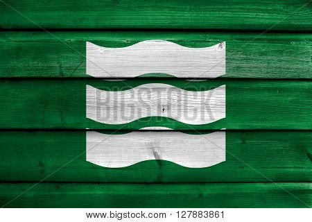 Flag Of Hiroshima, Japan, Painted On Old Wood Plank Background