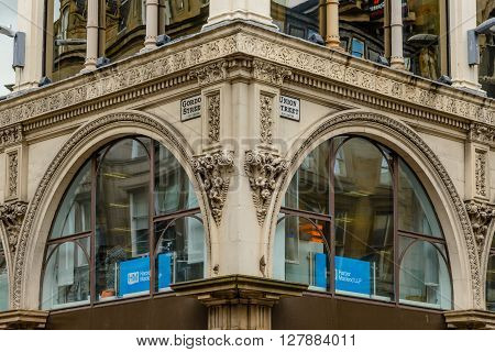 GLASGOW SCOTLAND - JUNE 03 2015: Architectural detail of the Ca' D' Oro Building at the corner of Union Street and Gordon Street in Glasgow Scotland.