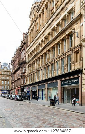 GLASGOW SCOTLAND - JUNE 03 2015: The Grosvenor Building in the city centre Gordon Street in Glasgow Scotland.