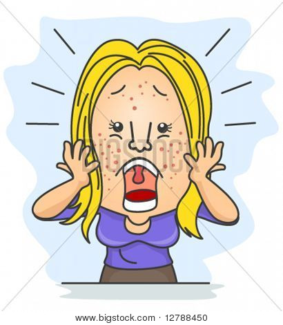 A Shocked Woman With Pimples Scattered All Over Her Face - Vector