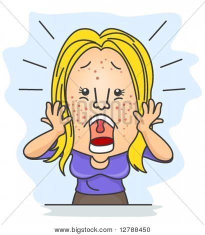 Eine schockiert Frau mit Pickel verstreut alle über ihr Gesicht - Vektor
