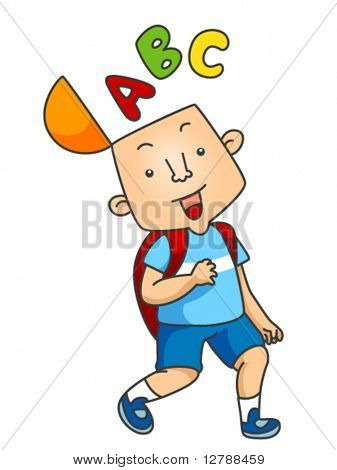 A Beaming Boy Walking With His Skull Half-open and Letters Coming Out From It - Vector