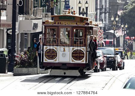 Sajn Francisco USA - November 14 2014: The Cable car tram. The San Francisco cable car system is world last permanently manually operated cable car system. Lines were established between 1873 and 1890.