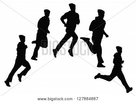 Young man doing jogging on the street contur
