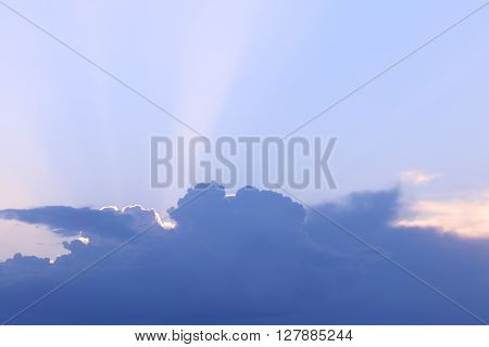 Beautiful big white cloud sundet and blue pure sky at sunny evening
