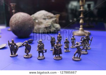 PERM RUSSIA - APR 4 2015: Miniature figurines of warriors in Museum of Local History