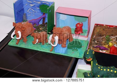 PERM RUSSIA - APR 4 2015: Kids crafts mammoths in Museum of Local History