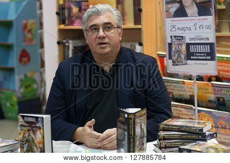 PERM RUSSIA - MAR 25 2015: Zlotnikov Roman gives interview at premiere of his new book