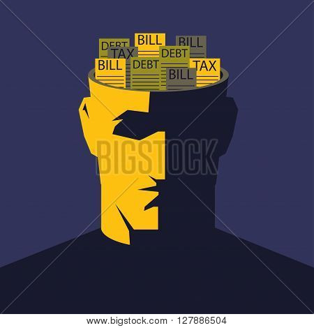 Male open head with bunch of bills inside. Financial problems concept vector illustration.