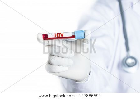 Doctor holding Blood sample with HIV test