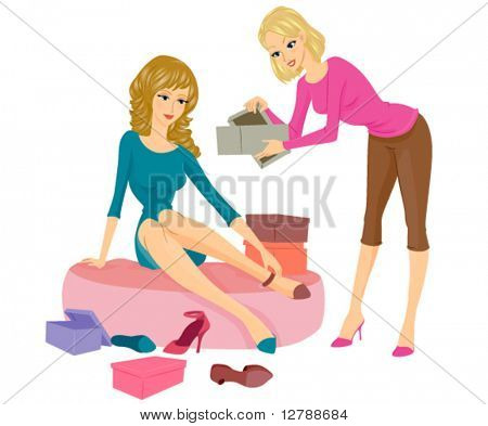 A Female Sales Clerk Assisting a Woman Sitting on a Cushy Seat while Trying on Some Shoes - Vector
