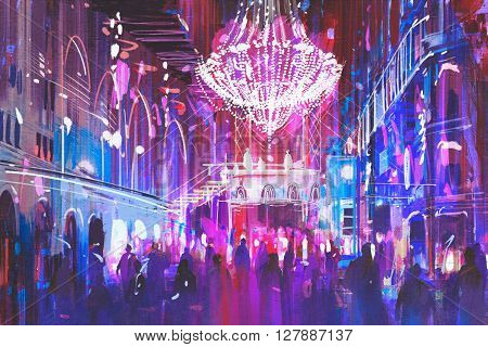 interior night club with bright lights, illustration painting
