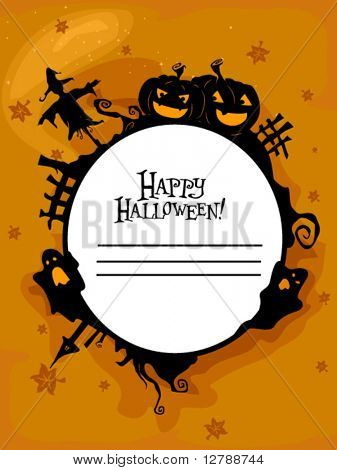Halloween Themed Frame Featuring Silhouettes of a Scarecrow, Jack o Lanterns, Broken Down Fences, Ghosts, Autumn Leaves, and Vines - Vector