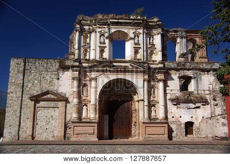 Ancient catholic Church in Antigua in Guatemala, Central America