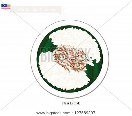 Malaysian Cuisine Nasi Lemak or Steamed Rice Cooked in Coconut Milk Served with Anchovies The National Dish of Malaysia.