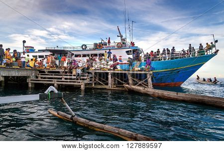 Katupat Indonesia - Dec 16 2015: Passenger ship heading from Ampana to the Togean or Togian Islands. Central Sulawesi