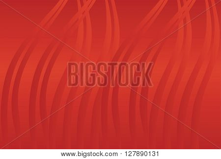 Cinnabar red background with waves. Vector background.