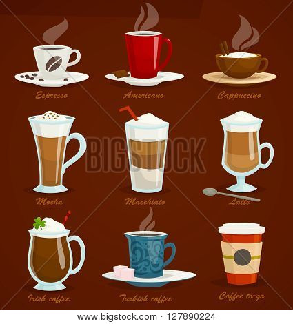 Different types of coffee. Espresso americano cappuccino latte mocha macchiato irish turkish, coffee to-go. Cartoon vector illustration