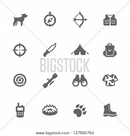 Simple Set of Hunting Related Vector Icons. Contains Such Icons as Bow, Camouflage, Aiming, backpack and More.