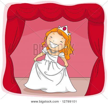 Ilustração de um garoto vestido com um traje de princesa atuando em uma peça de teatro
