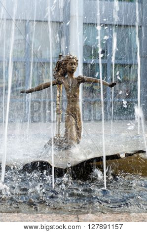VORONEZH, Russia - May 26, 2013, The central element of the fountain