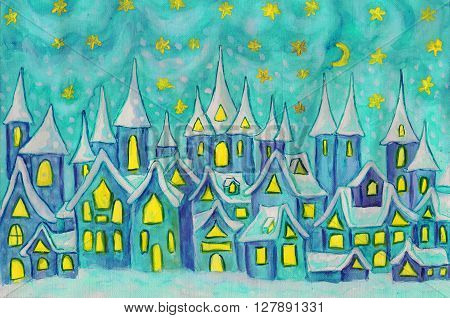 Hand painted illustration watercolours - Dreamstown. Can be used as illustration for fairy tales books for children Christmas pictures.