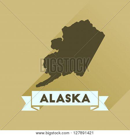 Flat icon with long  shadow Alaska map