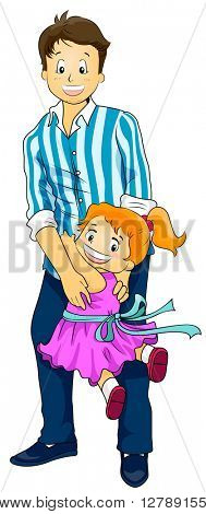 Illustration of a Cute Little Girl Clinging to Her Father