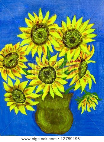 Hand painted illustration oil painting bouquet of sunflowers. Size of original 35 x 245 sm.