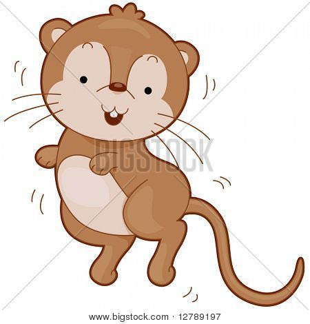 Illustration of a Cute Gerbil Bouncing Happily