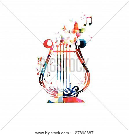 Vector illustration of colorful lyre with butterflies