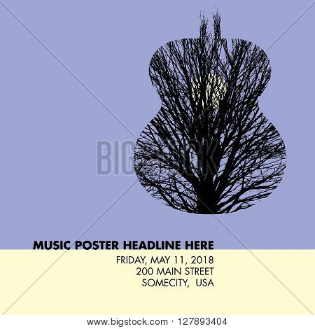 Musical guitar tree template for web or print