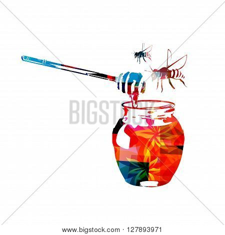 Vector illustration of colorful honey dipper and honey in jar with bees