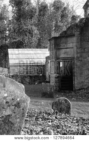 The entrance to the ruins of St. Bridgets Kirk
