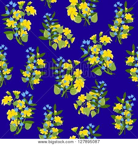 Bouquets of buttercups and blue bellflowers, with leaves on dark blue background, seamless pattern, vector illustration