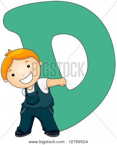 Illustration of a Little Boy Carrying a Letter D on His Back