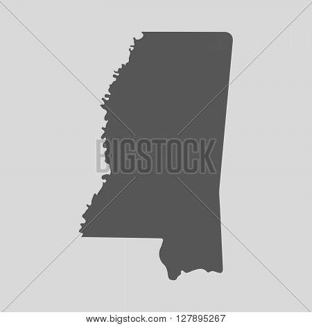 Black map of the State of Mississippi - vector illustration. Simple flat map State of Mississippi.