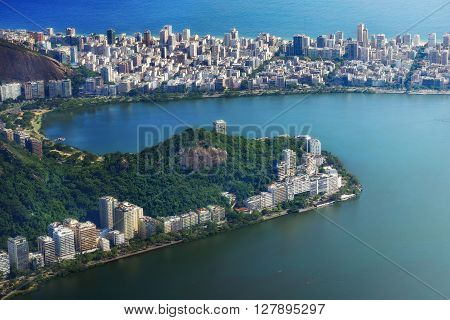 Aerial view of Lagoa and Ipanema neighborhood in Rio de Janeiro, Brazil.