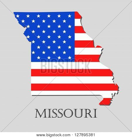 Map of the State of Missouri and American flag illustration. America Flag map - vector illustration.
