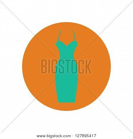 Dress vector illustration on the orange background. Dress icon