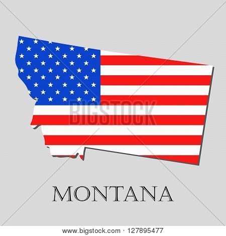 Map of the State of Montana and American flag illustration. America Flag map - vector illustration.