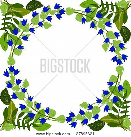 Wreath of blue bellflowers and leaves. Spring or summer design for background  or invitation, wedding or greeting cards, isolated on white background, vector illustration