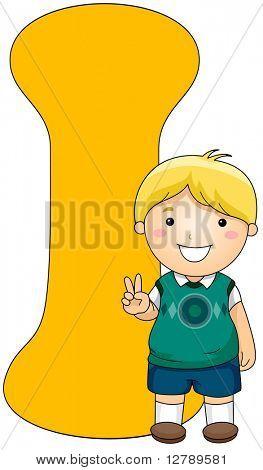 Illustration of a Little Boy Posing Beside a Letter I
