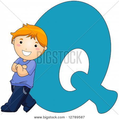 Illustration of a Little Boy Resting Against a Letter Q