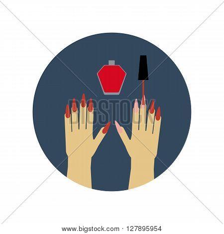Manicure Nail Polish. Nail polish icon. Hands icon. Vector illustration