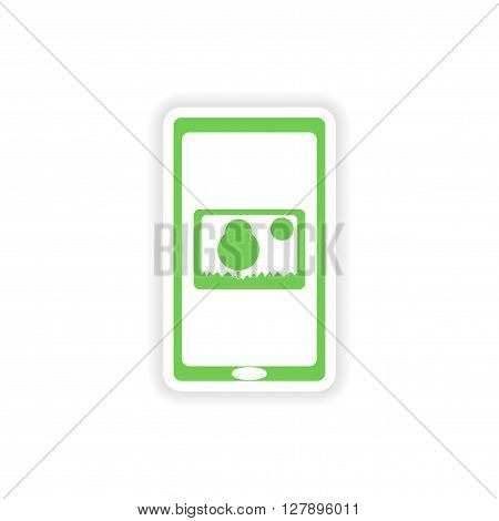 paper sticker on white background  mobile phone gallery