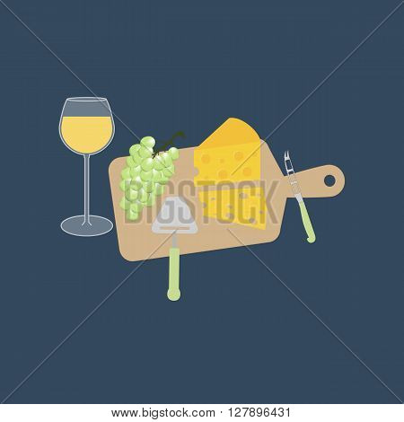 Wine cheese and grapes on the board. Cheese knife. Vector illustration