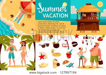 Infographics with travel concept summer vacation on the beach, tourists go hiking in travel between countries, vacation, set of elements of icons, beach, summer, bar, sand, sea, fun and games