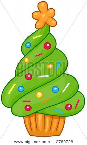 Christmas Tree Design Featuring a Cupcake Shaped Like a Christmas Tree